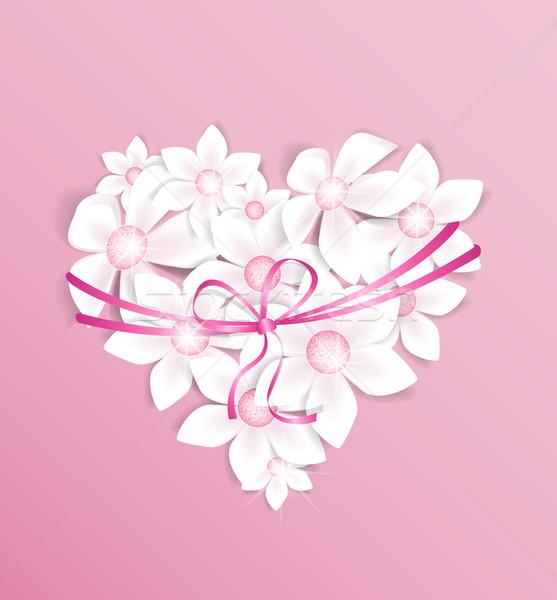 Bloemen decoratie hart roze ontwerp verjaardag Stockfoto © odina222