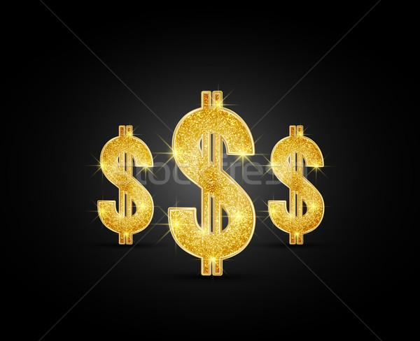 Dollár vektor arany fekete üzlet háttér Stock fotó © odina222