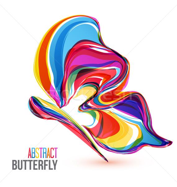 Vektör soyut renkli kelebekler beyaz kelebek Stok fotoğraf © odina222