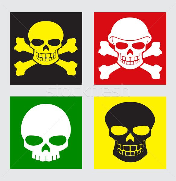 Stok fotoğraf: Kafatasları · vektör · ayarlamak · farklı · renkler · arka · plan