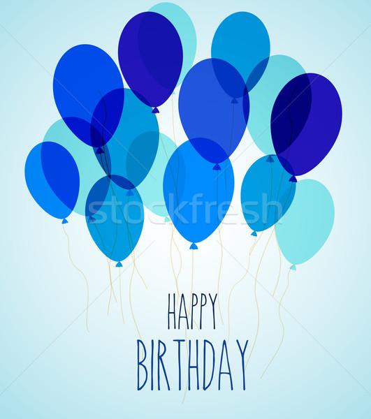 Doğum günü partisi balonlar mavi parti mutlu çocuk Stok fotoğraf © odina222