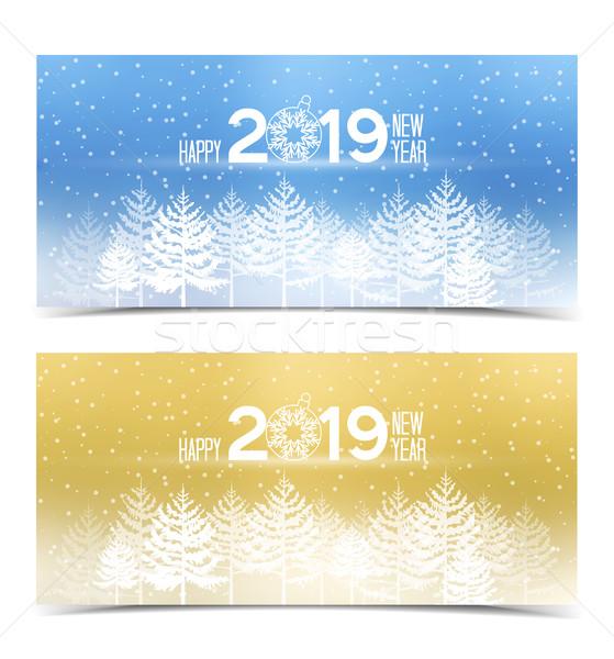 Boldog új évet égbolt fa boldog absztrakt tájkép Stock fotó © odina222