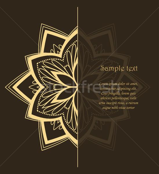 Vector bloem mandala ontwerp bruin Stockfoto © odina222