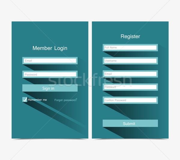 Stock fotó: Bejelentkezés · regisztráció · űrlap · ui · terv · doboz