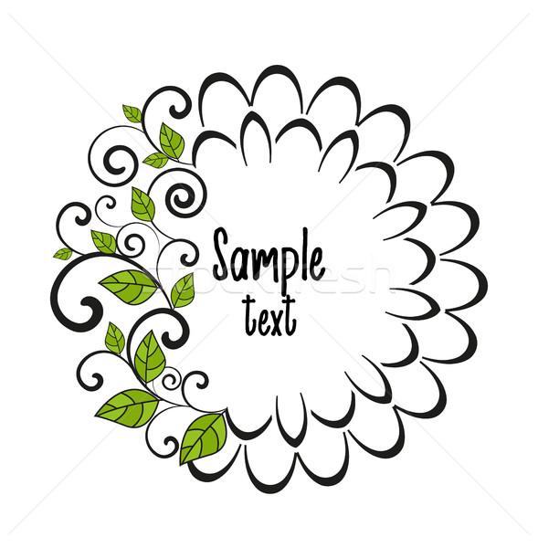 Vektör dekoratif yaprak beyaz çerçeve çayır Stok fotoğraf © odina222