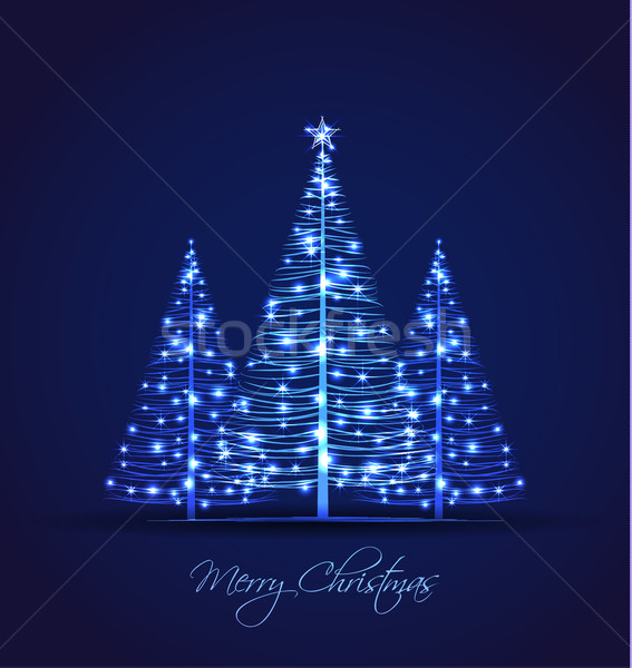 Noel ağacı vektör Noel ağaçlar mavi soyut Stok fotoğraf © odina222
