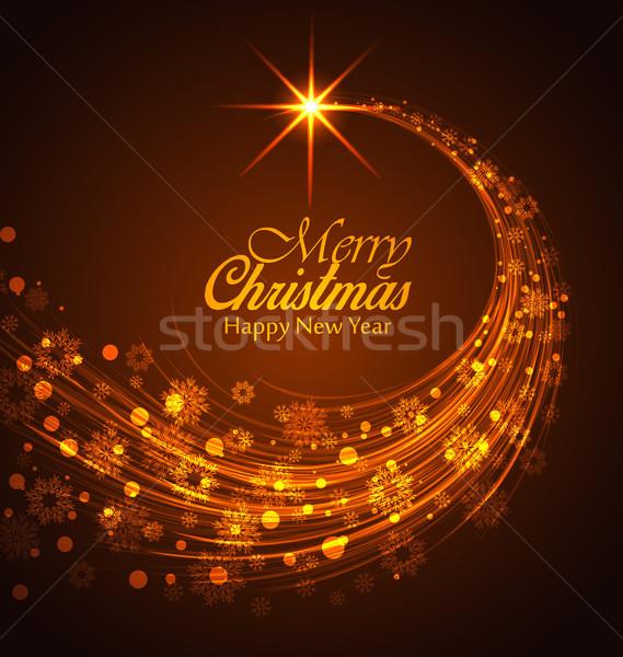 Vector christmas vrolijk gelukkig nieuwjaar hemel Stockfoto © odina222