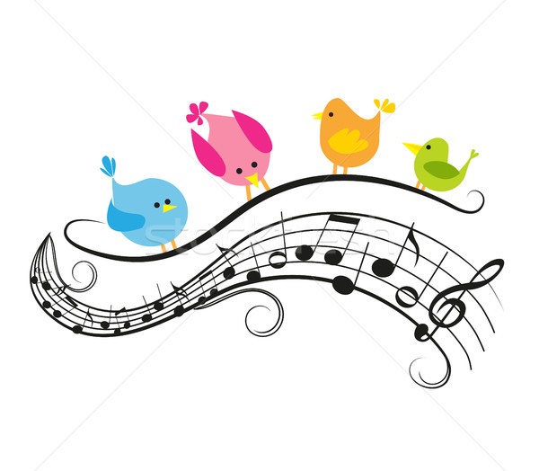 Notes de musique oiseaux musique nature fond art Photo stock © odina222
