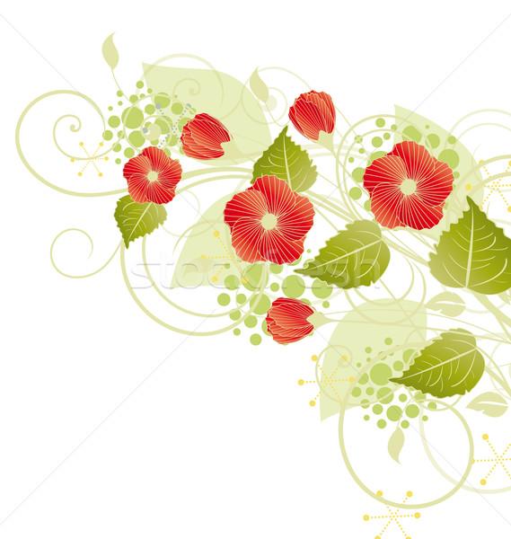 Rode bloemen witte ingericht textuur voorjaar abstract Stockfoto © odina222