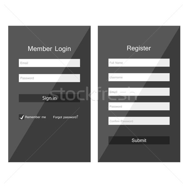 Login registrazione forma ui design business Foto d'archivio © odina222