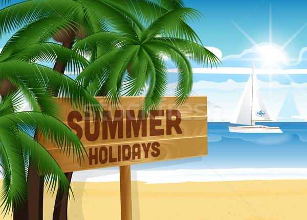 Nyár terv pálmafák tenger fa deszka háttér Stock fotó © odina222