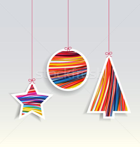 Vetor natal decorações cinza alegre Foto stock © odina222