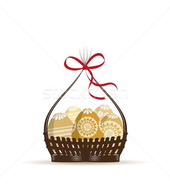 Vektör paskalya yumurtası ayarlamak dekore edilmiş yumurta bahar Stok fotoğraf © odina222