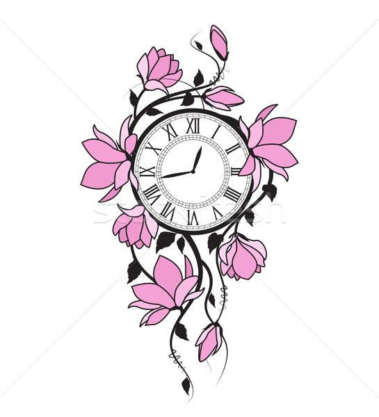 магнолия цветы часы розовый цветочный Сток-фото © odina222