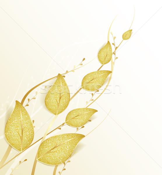 Gouden bladeren decoratief bruiloft ontwerp blad Stockfoto © odina222