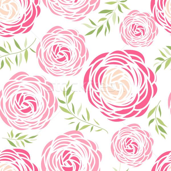 Seamless pattern with pink flowers Stock photo © odina222