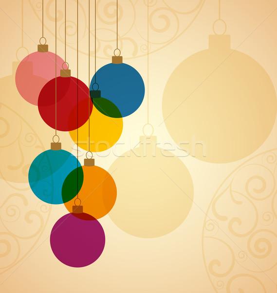 Noel Retro arka plan yeşil kış Stok fotoğraf © odina222