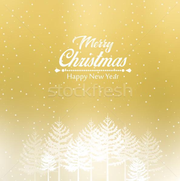 вектора Рождества пейзаж с Новым годом древесины природы Сток-фото © odina222