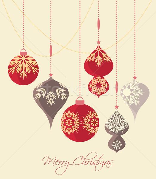 Karácsony golyók retro dekoratív vektor karácsonyi üdvözlet Stock fotó © odina222