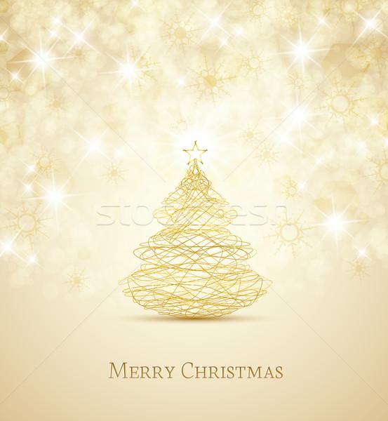 Foto stock: árvore · de · natal · alegre · flocos · de · neve · natureza · projeto