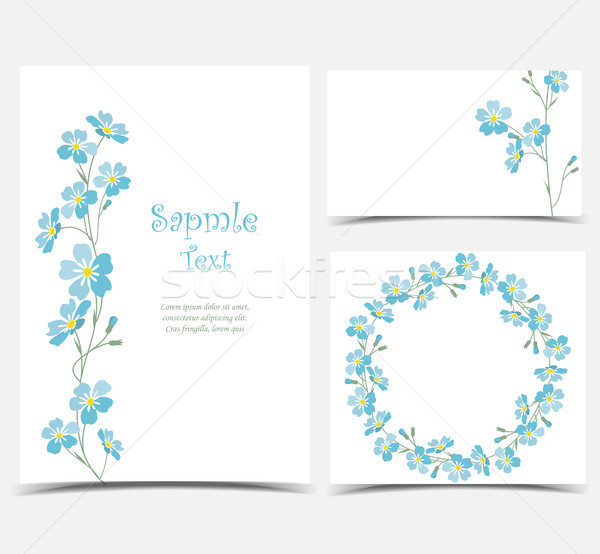 Stock photo: Vector blue forget me not flowers