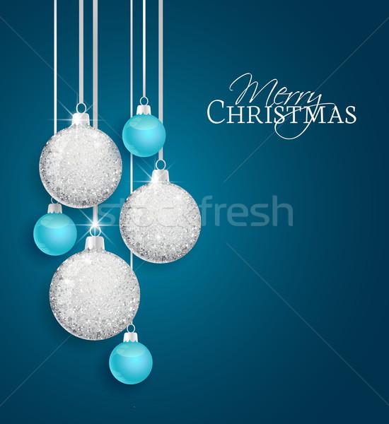 Vector christmas Blauw textuur gelukkig Stockfoto © odina222