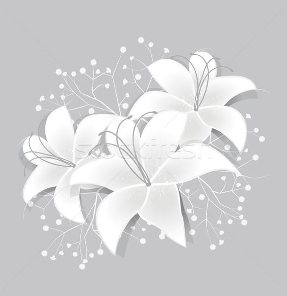 Vecteur blanche romantique floral résumé Photo stock © odina222