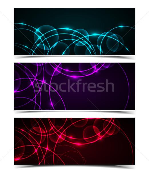 Stock foto: Vektor · abstrakten · Kreise · Set · modernen · Banner