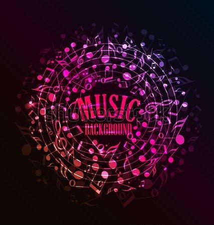 Stockfoto: Muziek · vector · donkere · hart · muziek · merkt · abstract