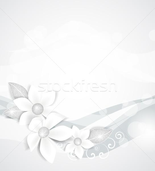 Flores brancas prata folhas casamento abstrato natureza Foto stock © odina222