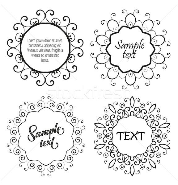 цветочный орнамент шаблон вектора набор различный Сток-фото © odina222