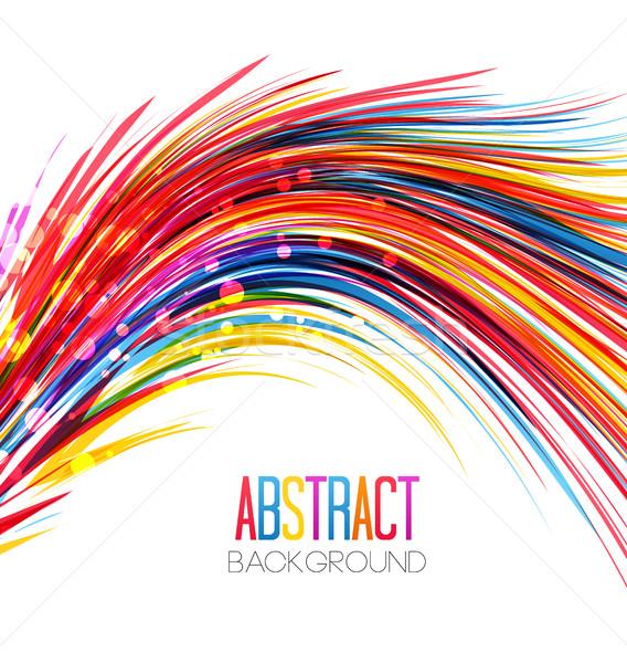 カラフル 抽象的な 行 ベクトル 波 白 ストックフォト © odina222