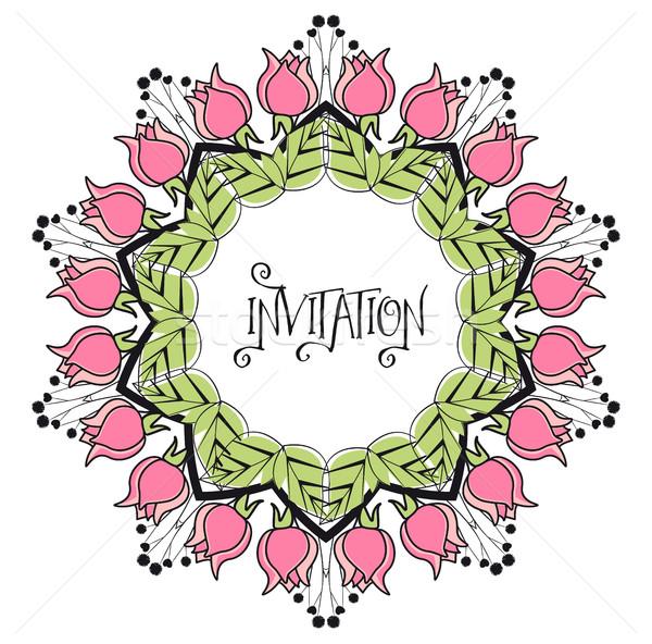 Ramki róż kwiat wiosną moda charakter Zdjęcia stock © odina222