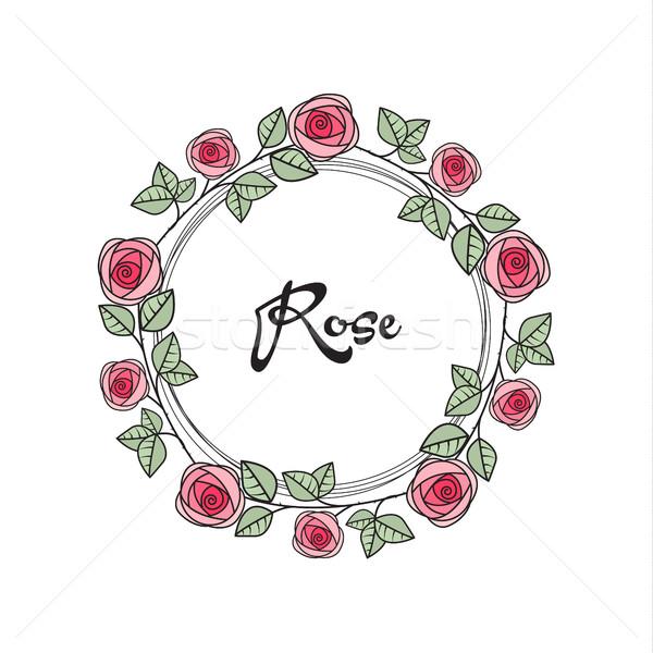 Vektör güller çerçeve romantik dekorasyon çiçekler Stok fotoğraf © odina222