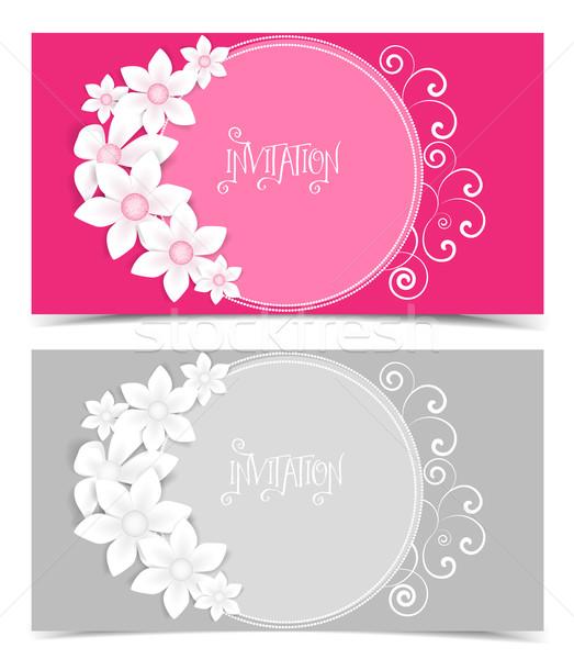 Renk dizayn iki vektör tebrik kartı Stok fotoğraf © odina222