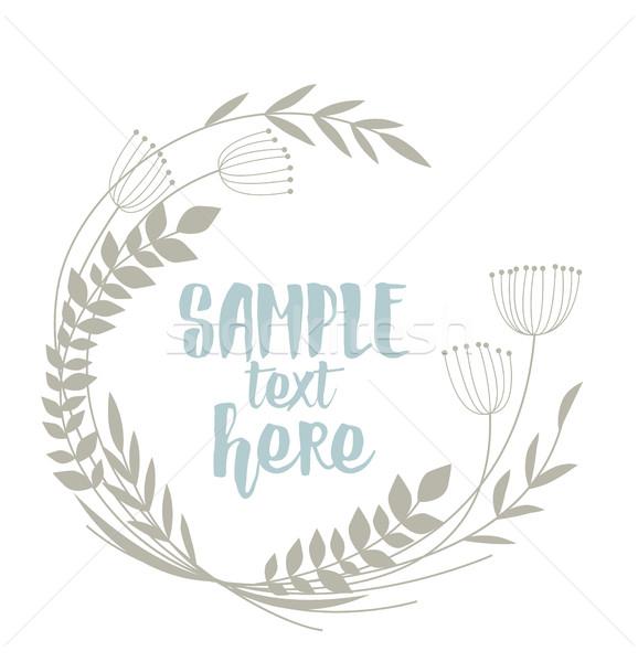 Stockfoto: Frame · bladeren · bloemen · bloem · ontwerp
