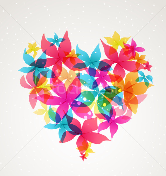 Abstract heart with flowers Stock photo © odina222