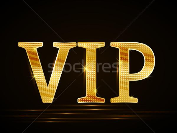 Vector vip tarjeta negro dorado texto Foto stock © odina222