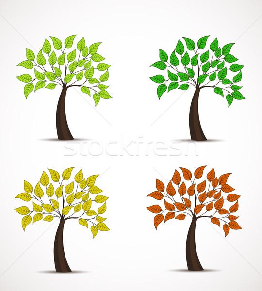дерево листьев вектора четыре цветами декоративный Сток-фото © odina222