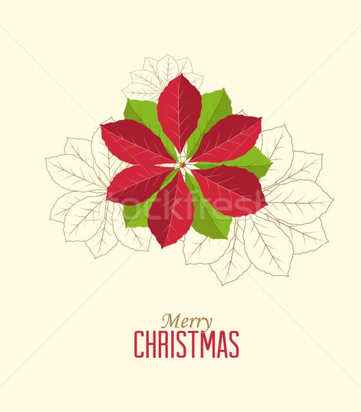 Virág retro dekoratív virág vektor karácsonyi üdvözlet terv Stock fotó © odina222