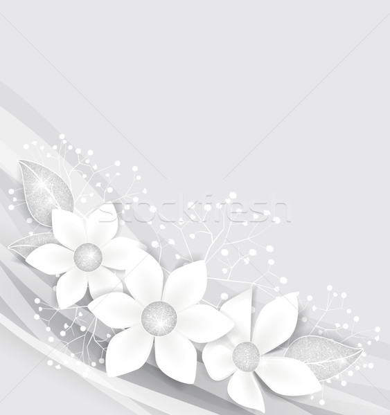 Witte bloemen zilver bladeren bruiloft abstract natuur Stockfoto © odina222