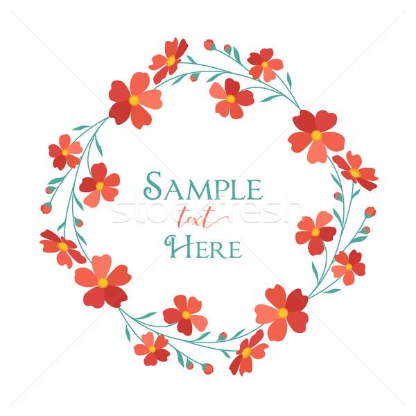 Koszorú piros virágok vektor illusztrációk hely szöveg Stock fotó © odina222