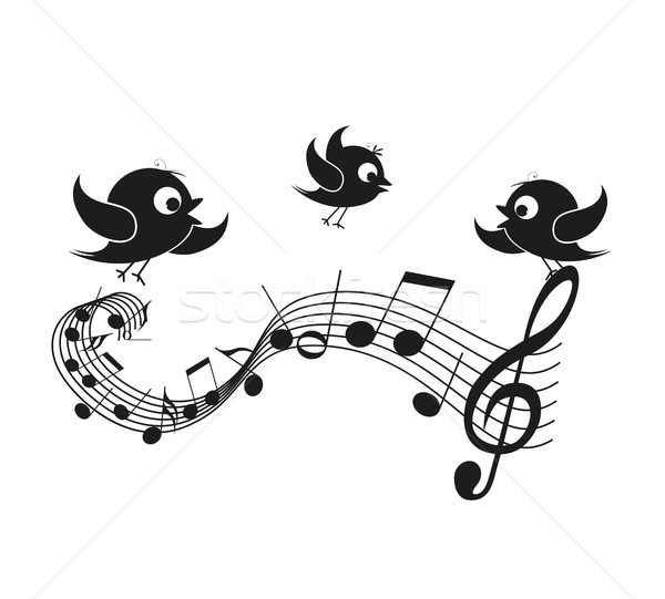 Musical notes with birds Stock photo © odina222