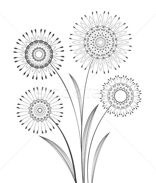 вектора луговой цветы аннотация декоративный карт Сток-фото © odina222