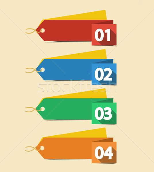 Etiketler vektör tasarım şablonu renk kâğıt web Stok fotoğraf © odina222