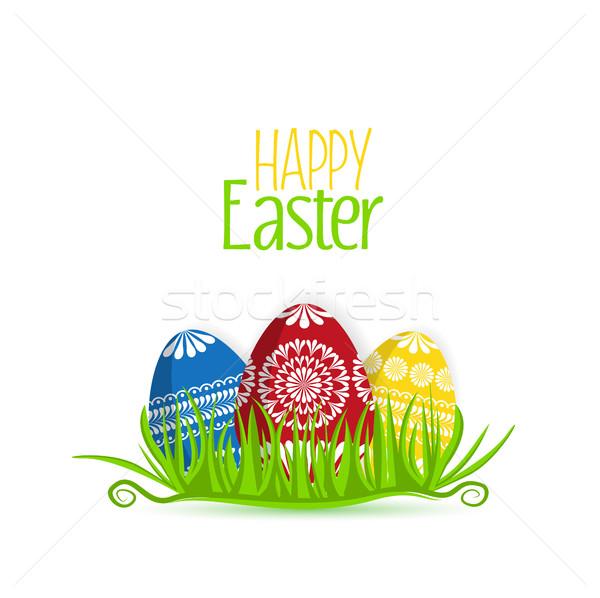 Vektör paskalya yumurtası ayarlamak çim yumurta çiçek Stok fotoğraf © odina222