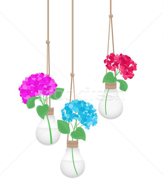 Virág villanykörte lakberendezés absztrakt természet terv Stock fotó © odina222