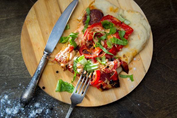 ломтик пиццы бекон травы Сток-фото © oei1
