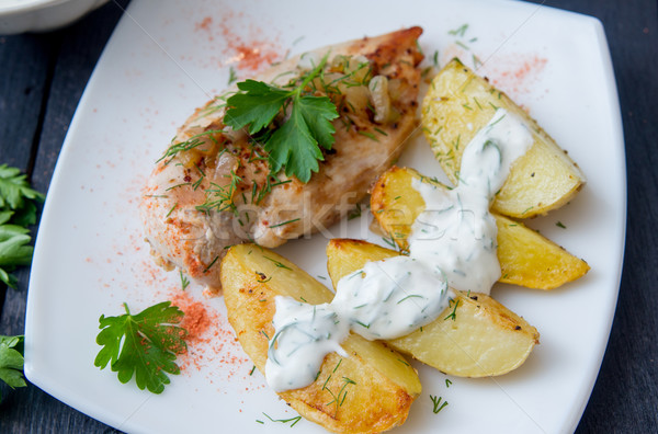курица-гриль груди картофель белый пластина Сток-фото © oei1