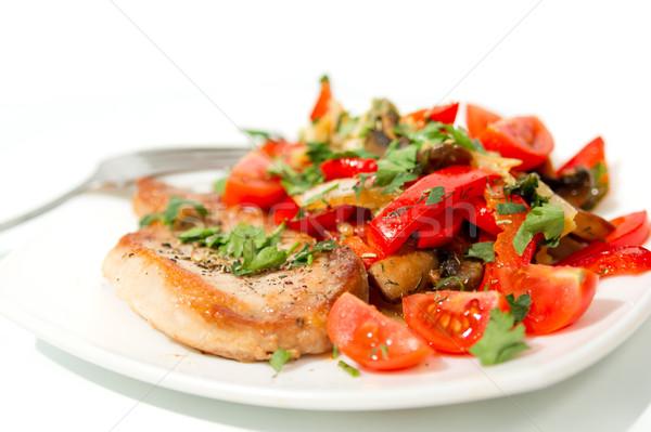 свинина мяса грибы овощей белый Сток-фото © oei1